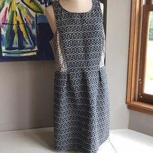 Ann Taylor Loft sleeveless dress. Navy  & Cream